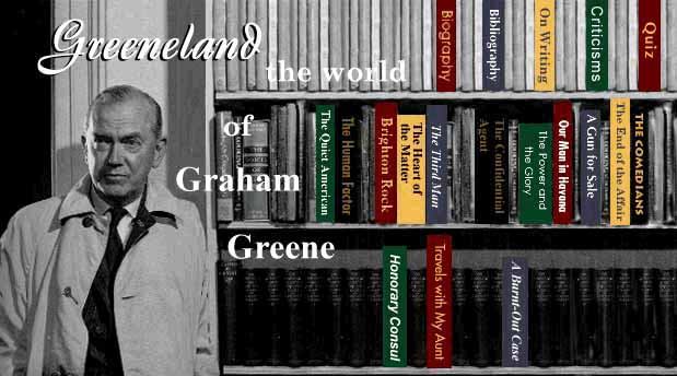 Graham Greene at bookcase